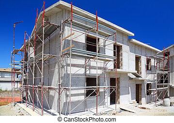predios, casa, concreto, construção, novo, branca, dois andares, escadas, sacada