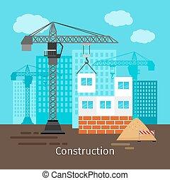 predios, casa, guindaste, construção