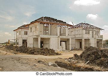 predios, &, casa, local, construção, progresso, novo
