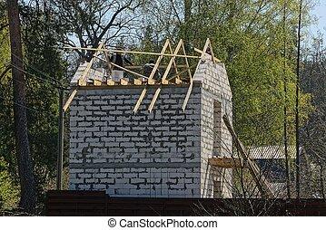 predios, casa, tijolo branco, privado