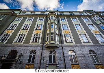 predios, cidade, antigas, estonia., tallinn, histórico