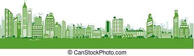 predios, cidade, ecologia, espaço, conceito, árvore, verde, ilustração, meio ambiente, vetorial, desenho, terra, cópia, dia