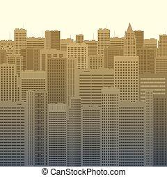 predios, cidade, [].eps, ilustração