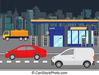 predios, cidade, illustration., petrol, car, modernos, gás, skyline, vetorial, fundo, carros, estação, station., refueling, estrada