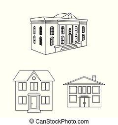 predios, cidade, jogo, illustration., modernos, vetorial, desenho, icon., estoque