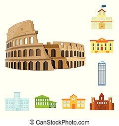 predios, cidade, jogo, illustration., negócio, objeto, isolado, vetorial, icon., estoque