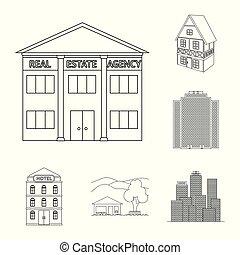 predios, cidade, jogo, illustration., negócio, vetorial, desenho, icon., estoque