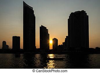 predios, cidade, silueta, pôr do sol