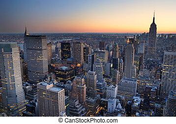 predios, cidade, with., aéreo, panorama, skyline, estado, pôr do sol, york, novo, império, manhattan, vista