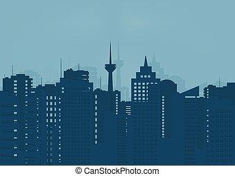 predios, city..eps, ilustração