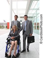 predios, colegas, mulher, escritório, cadeira rodas, exterior