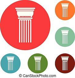 predios, coluna, ícones, círculo, jogo, vetorial