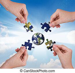predios, conceito, negócio, quebra-cabeça, mão, globo