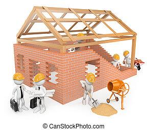 predios, construção casa, 3d, branca, trabalhadores, pessoas...