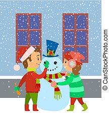 predios, crianças, inverno, crianças, boneco neve, divertimento, tendo