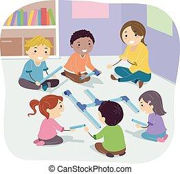 predios, crianças, stickman, ilustração, cano, atividade