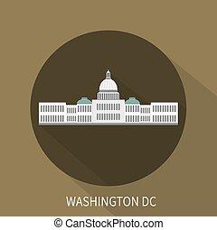 predios, dc., capitol, washington, vetorial, icon.