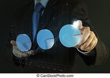 predios, desenvolvimento, conceito, trabalhando, mostrar, mão, computador, homem negócios, interface, novo