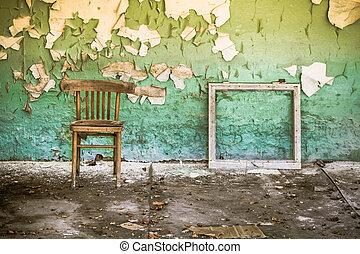 predios, desfolha, abandonado, parede