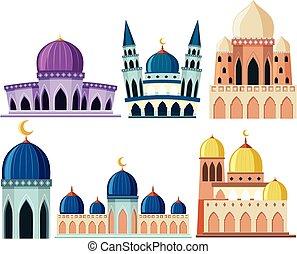 predios, diferente, jogo, mesquita