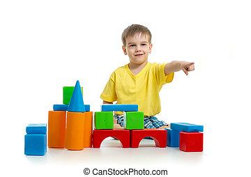 predios, direção, blocos, apontar, coloridos, dedo, tocando, criança