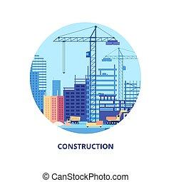predios, edifícios, processo, trabalho, house., maquinaria construção, modelo, bandeira