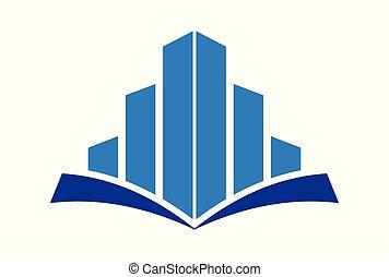 predios, educação, conceito, logotipo, vetorial