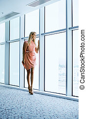 predios, elegante, janela, mulher, escritório