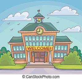 predios, escola, luminoso, ilustração, caricatura