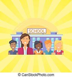 predios, escola, vetorial, pupilas, ilustração