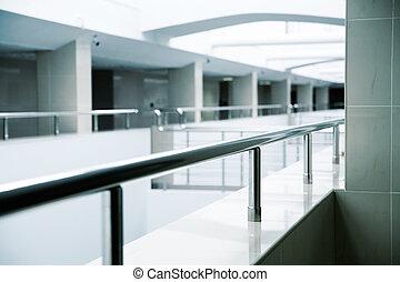 predios, escritório, modernos, metal, detalhes, interior