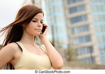 predios, escritório, modernos, telefone pilha, bonito, frente, menina