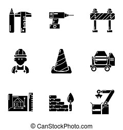 predios, estilo, ícones, jogo, local, simples