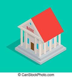 predios, estilo, antiga,  isometric, banco, ícone