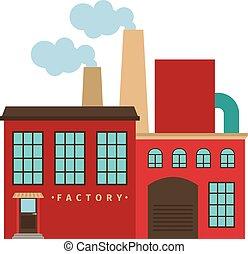 predios, fábrica, vermelho, ícone