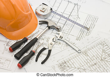 predios, ferramentas, ligado, a, casa, projeto