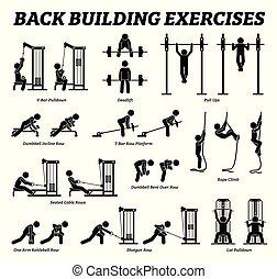 predios, figura, costas, pictograms., vara, exercícios, músculo