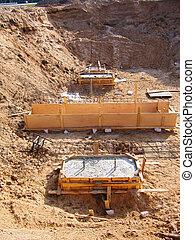 predios, fundação, construção, industrial, cova