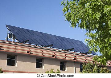 predios, grande, solar, telhado, painel