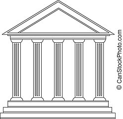 predios, grego, histórico, antiga, colunas