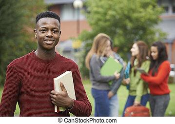 predios, grupo, exterior, estudante universitário, retrato