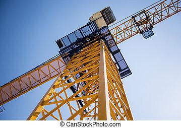 predios, guindaste torre, ligado, a, céu, fundo