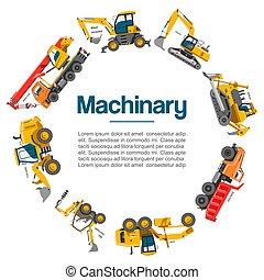 predios, guindastes, vetorial, poster., work., forklifts, carros, machinery., equipamento, outro, reboque, especiais, escavadoras, construção, tratores, escavadores, máquinas, maquinaria