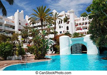 predios, hotel, ilha, piscina, tenerife, cachoeira, luxo, espanha, natação