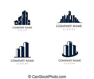 predios, ilustração, vetorial, desenho, logotipo, ícone