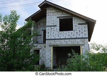 predios, inacabado, casa, local, tijolo branco
