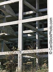 predios, inacabado, degrau, fragmento, abstratos, local, construção, arquitetura, branca