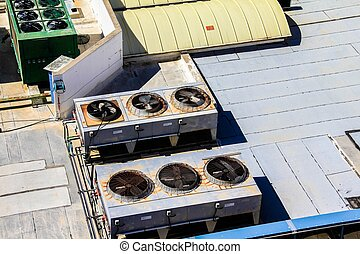 predios, industrial, antigas, sistema, telhado, ventilação