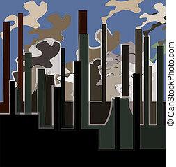 predios, industrial, illustration., chaminés, vetorial, fumaça, factory., fábrica