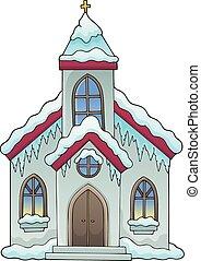 predios, inverno, imagem, 1, tema, igreja